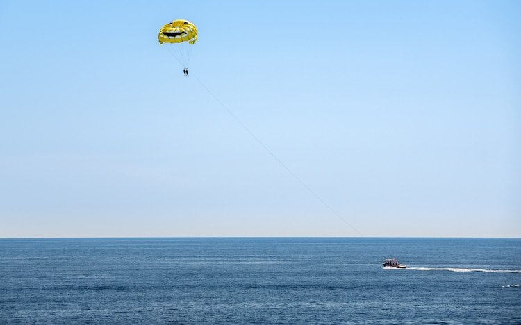Parasailing over Adriatic Sea in Dubrovnik, Croatia