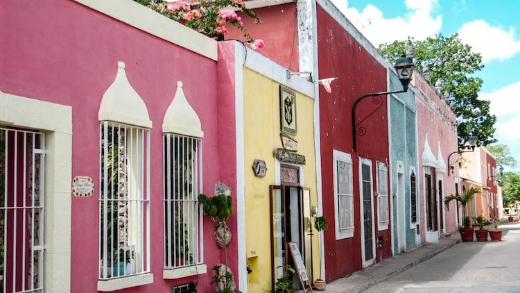 Colorful buildings lined up in Valladolid, Mexico