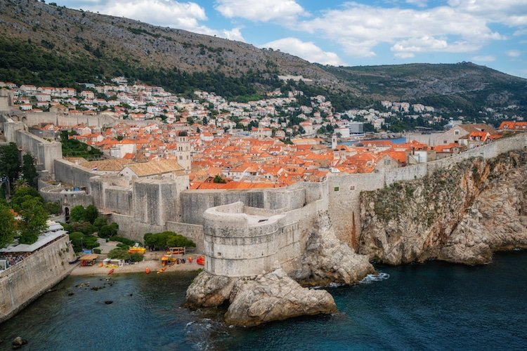 Historic wall of Dubrovnik Old Town, in Dalmatia, Croatia.