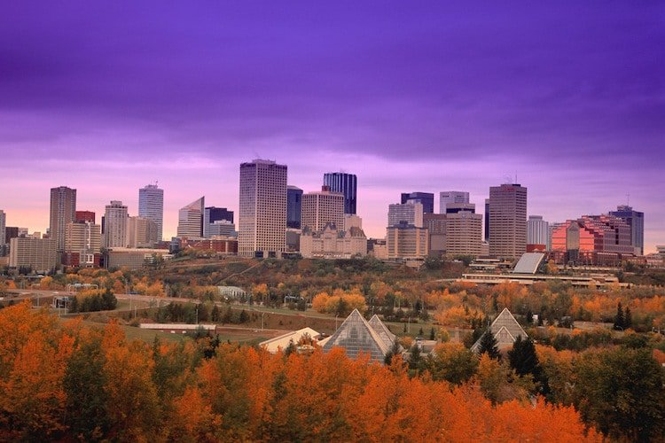 A photo of downtown Edmonton Alberta Canada in fall as the sun sets in the background