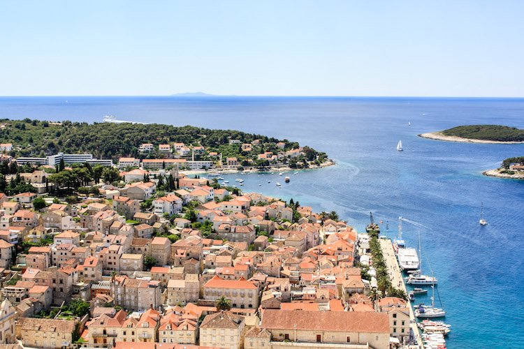 An aerial view of the town of Hvar and the Adriatic Sea