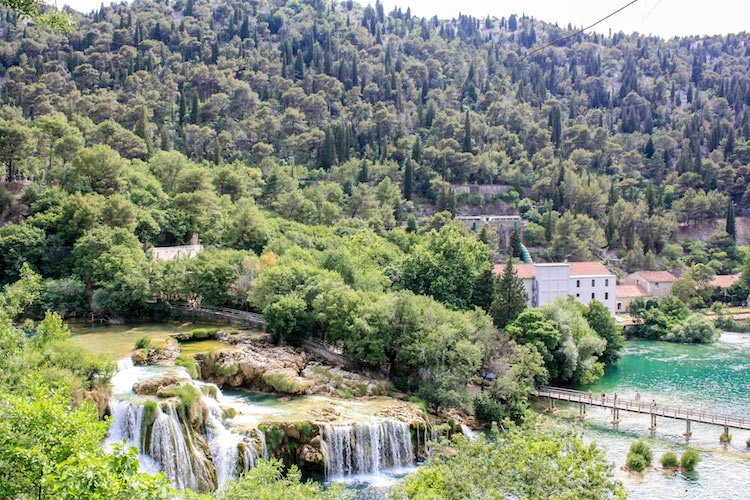 A view of waterfalls, forests, and turquoise lakes at Krka national park, Croatia