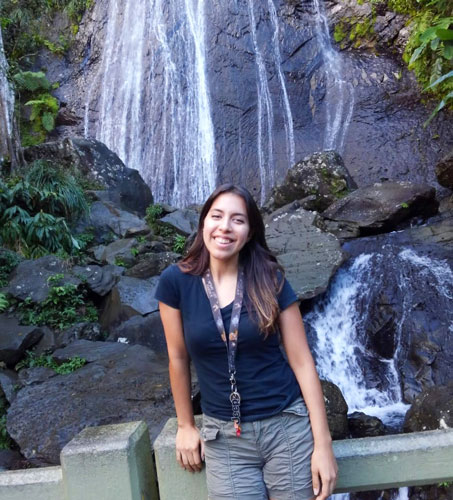 View of the author and the la Coca Falls on her background