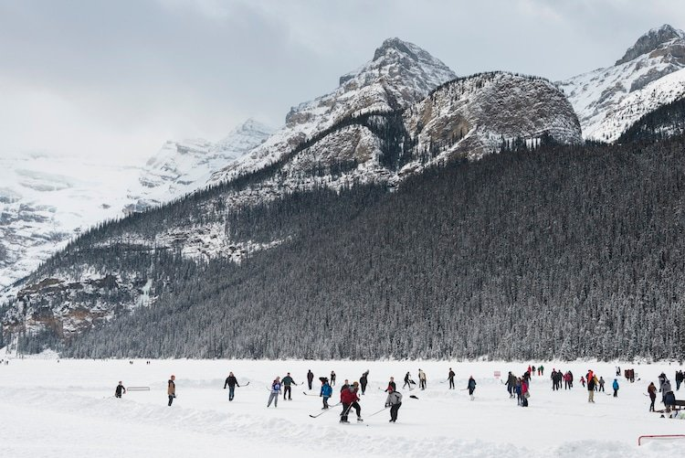 People playing ice hockey, Lake Louise, Banff National Park, Alberta, Canada