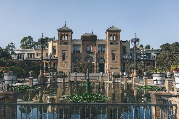Museum in front of pond in Seville, Spain
