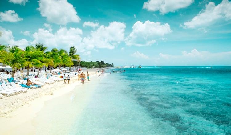 Beautiful sandy beach on Cozumel island, Mexico