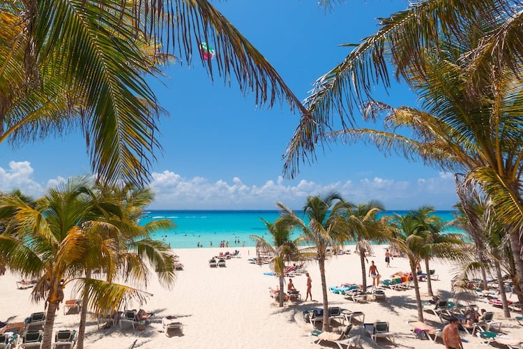 Playacar beach in Playa del Carmen with palm trees, white sand, and sunbathers dotting the landscape