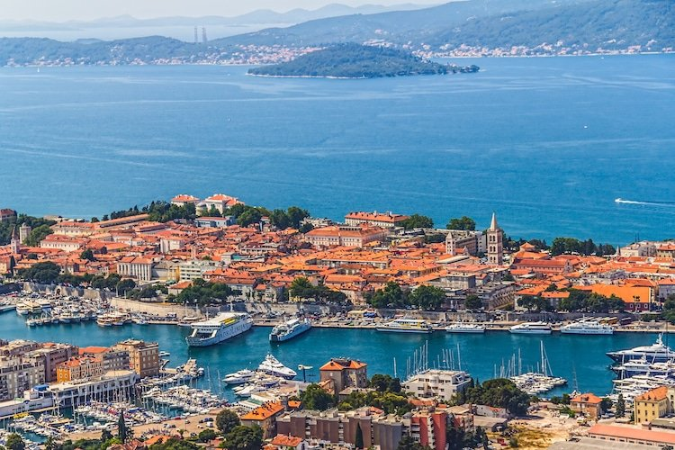 Aerial view of Zadar old town, famous tourist attraction in Croatia.