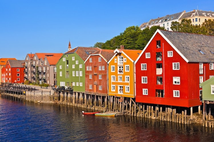 Colorful houses in Trondheim Norway, Scandinavia