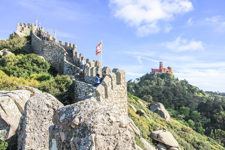 Castle of the Moors and Pena Palace at Sintra, Portugal.