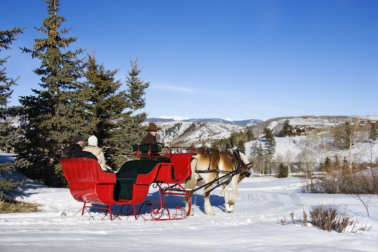 A couple takes a sleigh ride in Banff Canada