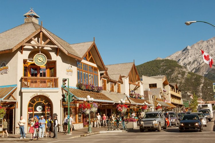 Downtown Banff alberta in the summertime.
