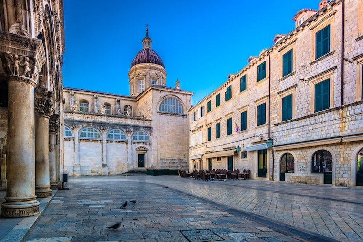 A serene image of Dubrovnik's main square in the old town, a top place for where to go backpacking Europe