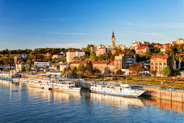 view of Belgrade cityscape from river Sava