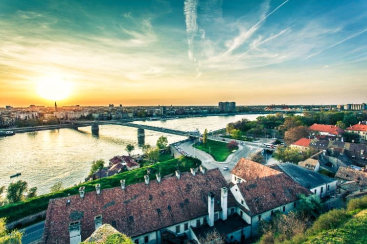view of river and town of Novi Sad