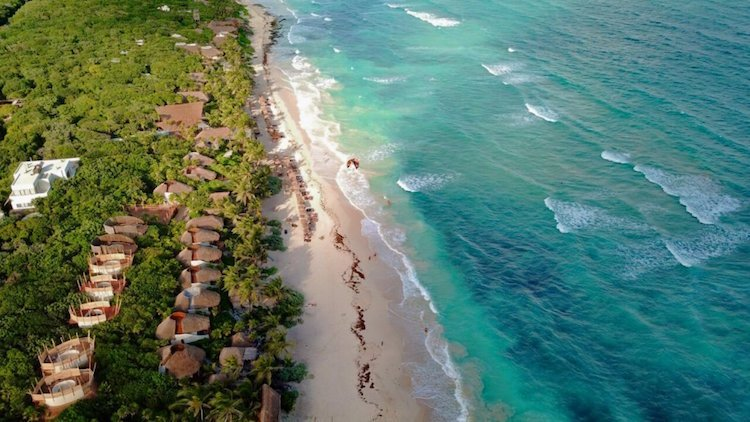 Overhead view of Tulum beach, one of the top day trips from Playa del Carmen Mexico