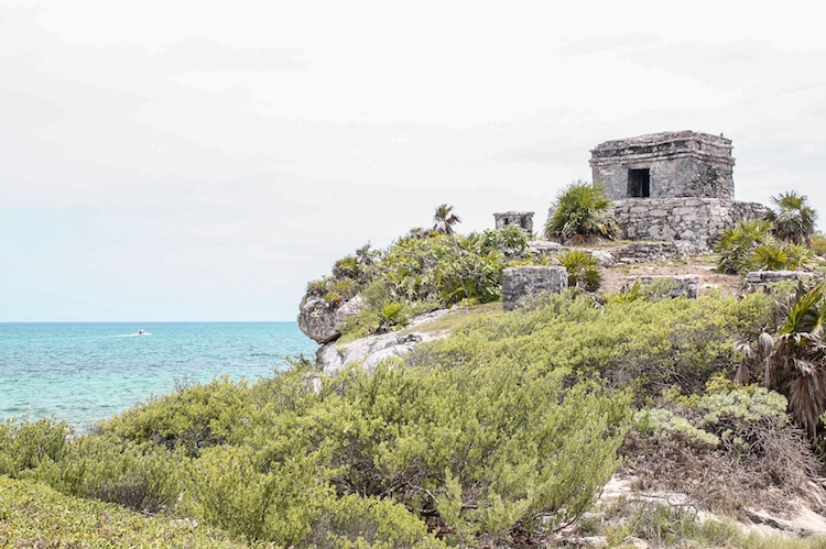 The Tulum ruins on a hill