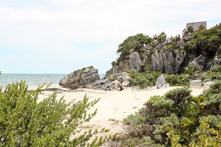 The beach under the ruins