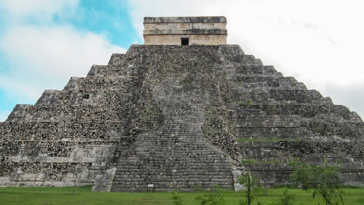 Pyramid with stone steps at Chichen Itza, Mexico