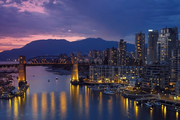 Vancouver - Canada. Yaletown and the Burrard Bridge in False Creek in the city of Vancouver in British Columbia on the west coast of Canada.