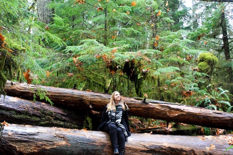 Woman sits on fallen tree stump in Cathedral Grove, Vancouver Island.