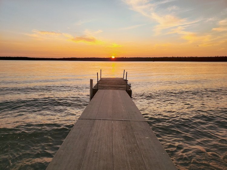 Sunset over a dock on in Whiteshell Provincial Park, Manitoba, Canada