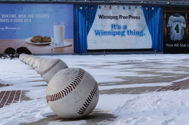 Street art installation of baseballs near Winnipeg Goldeyes Baseball Club. The Winnipeg Goldeyes are a professional baseball team based in Winnipeg, Manitoba, Canada.