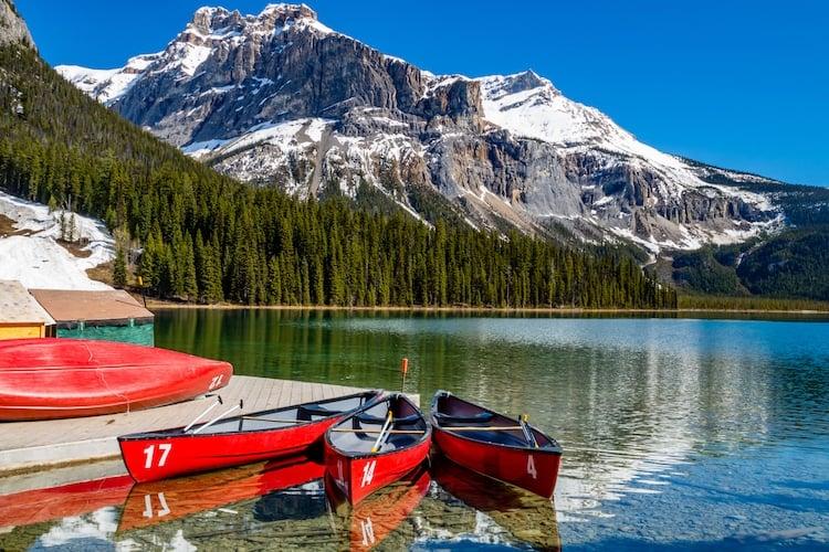 Canoes on Emerald Lake. Yoho National Park. British Columbia, Canada.